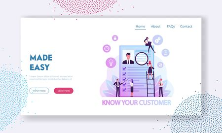 KYC or Know Your Customer Website Landing Page. Verifying of Clients Identity and Assessing their Suitability, Businesspeople Learn Customer Profile Web Page Banner. Cartoon Flat Vector Illustration Illusztráció