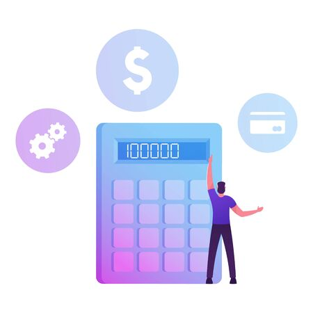 Male Character Stand at Huge Calculator Counting Income, Profit or Loan. Financial Problems, Budget Crisis, Man Take Money Credit at Micro Finance Organization or Bank Cartoon Flat Vector Illustration