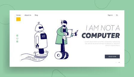 Ai Artificial Intelligence. Futuristic Technologies, Automation Landing Page. Robots Help Human Working in Office