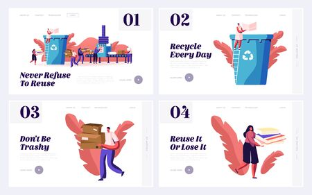 People Eco Activists Earth Pollution and Wastepaper Recycling Website Landing Page Set. Volunteers Sorting Paper Waste for Reuse, Ecology Protection Web Page Banner. Cartoon Flat Vector Illustration Vettoriali