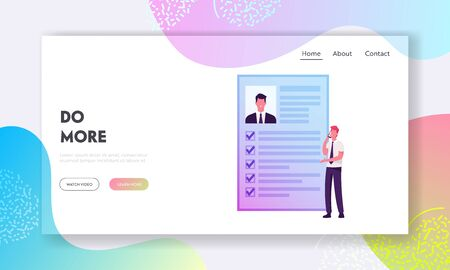 Kyc, Know Your Customer, Human Resources Recruitment Information Research Website Landing Page. Businessman Talking by Smartphone at Huge Male Profile Web Page Banner. Cartoon Flat Vector Illustration