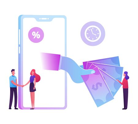 Huge Hand from Smartphone Screen Stretch Money to Woman Shaking Hands with Bank Employee. Micro Credit Finance Organization Service, Loan with Huge Percent, Banking Cartoon Flat Vector Illustration