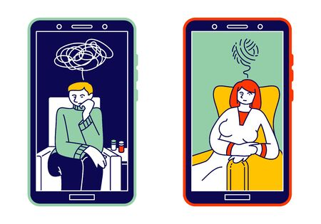 Online Psychological Consulting Concept. Depressed Man and Woman with Tangled Thoughts on Smartphone