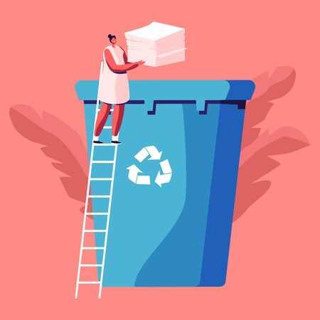 Female Character Throw Paper Trash into Litter Bin Container with Recycling Sign. Ecology Protection, Earth Pollution Problem, Woman Eco Activist, Waste Reuse Solution Cartoon Flat Vector Illustration