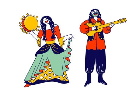 Gypsy Couple Dressed in Ethnic Wear Dancing and Playing Guitar and Tambourine. Gipsy Culture, Fair Holiday