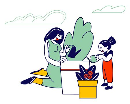 Mother and Daughter Gardening Hobby, Young Woman and Little Girl Care of Plant in Garden, Watering
