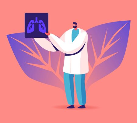 Pulmonology Specialist, Professional Doctor Holding X-ray Image of Lungs Learning Patient Fluorography with Tuberculosis or Pneumonia Disease. Medical Staff Work Cartoon Flat Vector Illustration
