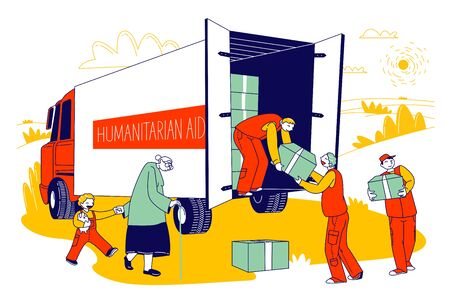 Team of Volunteers in Humanitarian Aid Van Giving Help Boxes to Refugees, Governmental Help Concept. Senior Woman with Little Boy Need Material Assistance, Cartoon Flat Vector Illustration, Line Art
