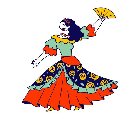Beautiful Gypsy Girl in Long Dress Dancing with Fan in Hands and Singing Song. Gipsy Culture, National Tradition, Romany Music and Dance Performance, Concert Cartoon Flat Vector Illustration, Line Art
