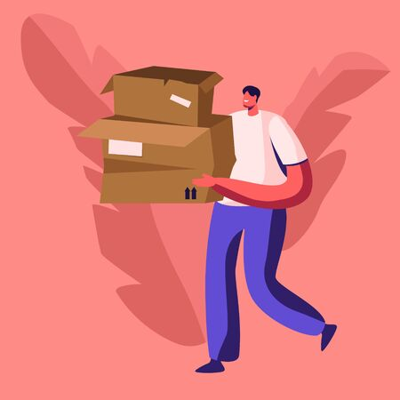 Young Man Volunteer Carry Pile of Old Used Carton Boxes. Paper Waste and Trash Recycle, Stop Pollution Concept Ecology Protection Problem Wastepaper Recycling Solution Cartoon Flat Vector Illustration
