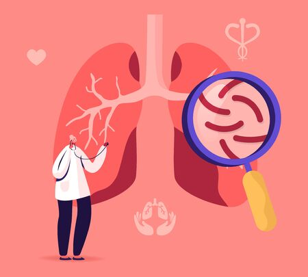 Tuberculosis Medical Pulmonological Care, Anatomy Respiratory Medicine, Healthcare and Pulmonology. Doctor Checking Human Lungs with Magnifying Glass Search Pathology. Cartoon Flat Vector Illustration