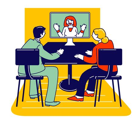 Psychotherapy Helpline, Online Consultation. Family Couple Listening Doctor Psychologist on Computer Monitor Having Distant Conversation Solve Mind Problems Cartoon Flat Vector Illustration, Line Art