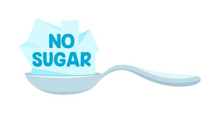 No Sugar Icon with Spoon and Sweet Cane Sugar Blocks, Design Element for Banner, Poster or Package Design Vectores