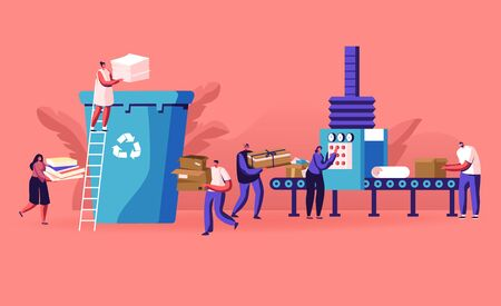 Group of People City Dwellers Throw Garbage to Recycle Litter Bin for Paper Waste. Environmental Protection Concept. Sort Recycle and Segregation of Cardboard Trash, Cartoon Flat Vector Illustration