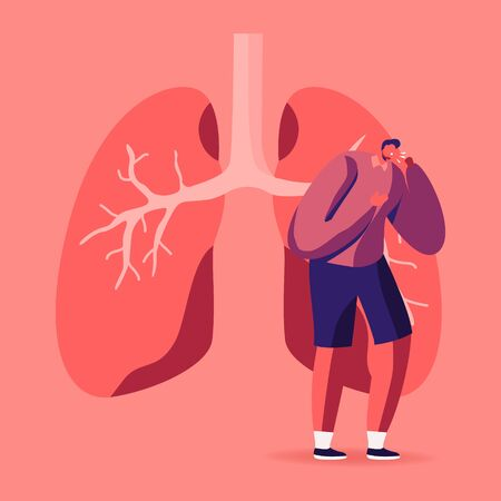 Man Coughing near Huge Diseased Lungs, Pulmonology Inspection, Respiratory System Examination Healthcare and Tuberculosis Treatment Concept. Respiratory Problems Cartoon Flat Vector Illustration
