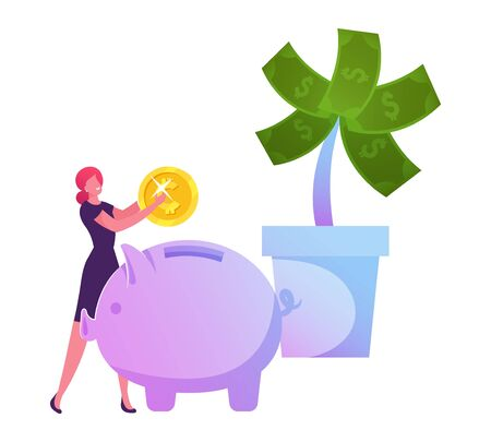 Businesswoman Put Golden Coin to Piggy Bank near Huge Potted Money Tree with Dollars. Investment Strategy, Savings and Capital, Finctech, Financial Technologies Cartoon Flat Vector Illustration