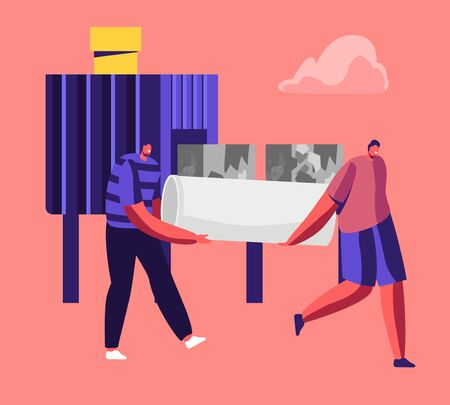 Couple of Men Bring Old Used Pipe on Conveyor Belt to be Pressed in Small Cube Pieces for Making Metallic Products. Process of Recycling and Reusing Old Iron Rubbish Cartoon Flat Vector Illustration