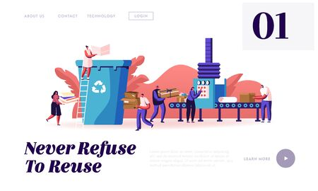 Paper Waste, Environmental Protection Website Landing Page. People Throw Garbage to Recycle Litter Bin Sort, Recycle and Segregation of Cardboard Trash Web Page Banner Cartoon Flat Vector Illustration Illusztráció