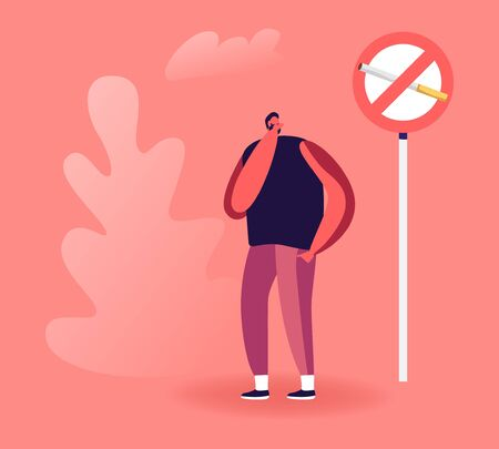 Man Close his Nose near Prohibited Sign with Cigarette. Passive Second Hand Smoking in Public Place Social Problem Concept. Unhealthy Bad Habit, Tobacco Addiction Cartoon Flat Vector Illustration
