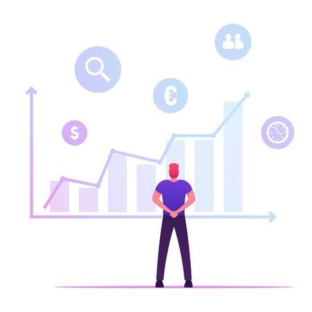 Businessman Analysing Growing Big Data Chart Company Statistics, Productivity Efficiency Business Education Training Vecteurs