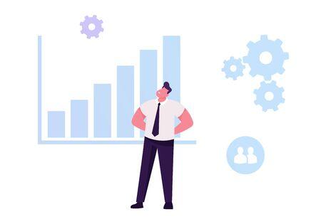 Businessman Developing Potential Analysing Statistics Data Chart. Capacity Building Process, Productivity Efficiency Illustration