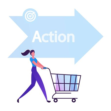 Happy Woman Buyer Pushing Shopping Cart front of Arrow Sign with Action Typography One of Step AIDA Model Except Attention Interest Desire Stages in Sales Business. Cartoon Flat Vector Illustration Illusztráció