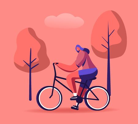 Woman Cyclist Riding Bike Outdoors in Summer Day on Nature Background. Bicycle Active Sport Life and Healthy Lifestyle Activity, Ecology Transport in Town, Bike Rider Cartoon Flat Vector Illustration