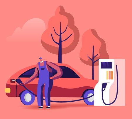 Gas Station Worker Hold Filling Gun for Pouring Fuel Into Car. Employee in Workwear at Petroleum Station Refueling Automobile, Transport Gasoline Service for Drivers. Cartoon Flat Vector Illustration Иллюстрация