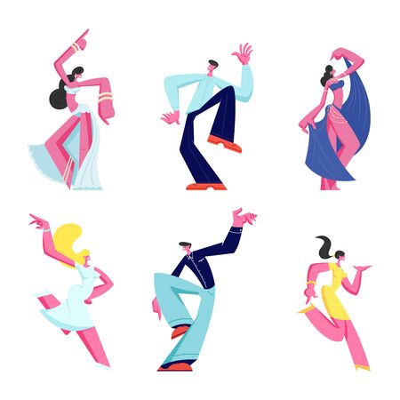 Set of Male and Female Characters Dancing Isolated on White Background. Joyful Men and Women Wearing Festive Dressing Moving Body on Disco. Girls Belly Dance Hobby Cartoon Flat Vector Illustration Vectores