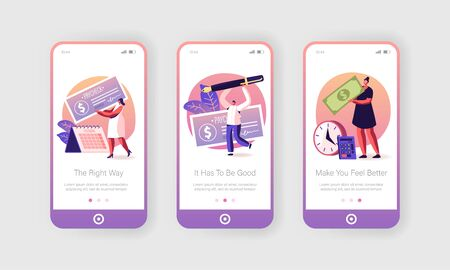 People Getting and Signing Paycheck Mobile App Page Onboard Screen Set. Calendar with Payday, Bank Loan or Tax Payment, Lottery Win Concept for Website or Web Page, Cartoon Flat Vector Illustration