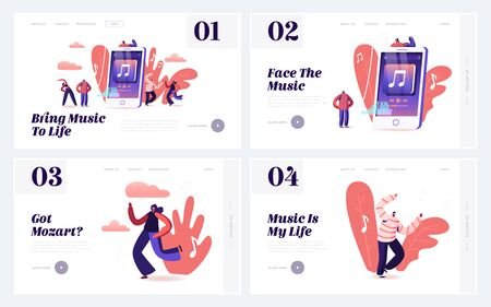 Characters Listen Music on Mobile Phone App Website Landing Page Set. Young People in Fashioned Clothing Celebrating Holiday Leisure or Hobby Movement Web Page Banner. Cartoon Flat Vector Illustration