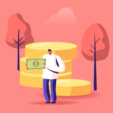 People Collecting and Saving Money Concept. Male Character Holding Huge Dollar Banknote Stand near Golden Coins Pile. Financial Success, Economy and Wealth in Business Cartoon Flat Vector Illustration