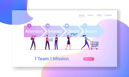 AIDA Model with 4 Stages of Sales Website Landing Page. in Attention, Interest, Desire and Action. Foundation Principles