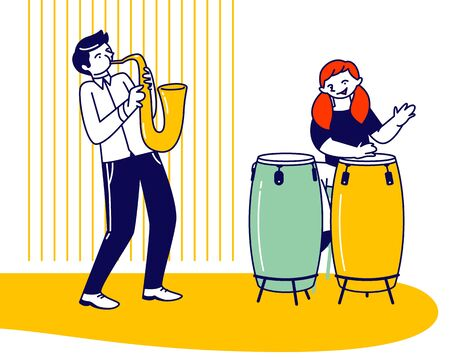 Girl Drummer and Boy Saxophone Player Playing Musical Composition Training before Jazz Performance on Stage or Exam Vektorové ilustrace