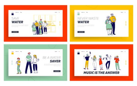 Healthy Family Drinking Fresh Water, Friends Partying Website Landing Page Set. Parents Grandparents and Little Boy
