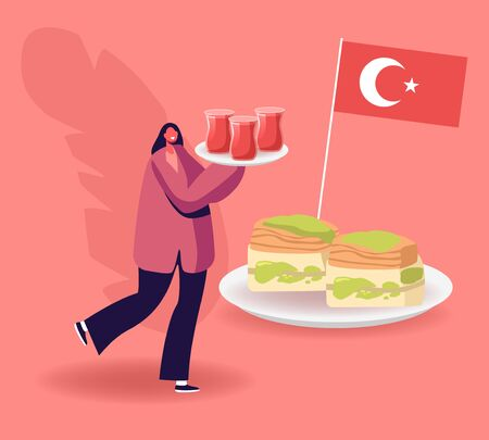 Cheerful Woman Carry Tray with Tea in Glasses near Plate with Traditional Turkish Sweets and Turkey Flag