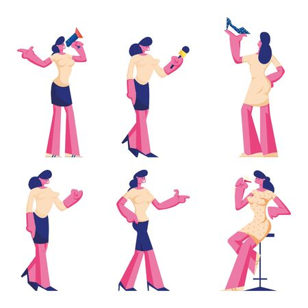 Set of Female Characters Wearing Formal Wear and Dress. Woman Choosing or Buying Shoes, Yelling to Megaphone 일러스트