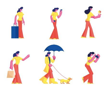 Set of Female Characters Wearing Casual Clothes Walking with Dog in Rainy Weather, Eating Ice Cream, Travel with Luggage, Photographing Isolated on White Background Cartoon Flat Vector Illustration Иллюстрация