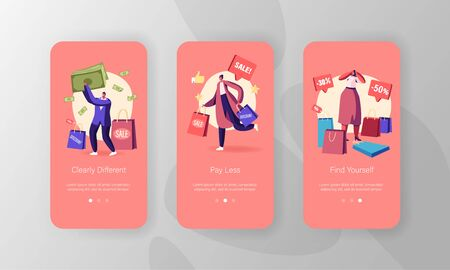 Characters Doing Shopping Mobile App Page Onboard Screen Set. Seasonal Sale, Discount, Shopaholic with Purchases in Paper Bags in Store Concept for Website or Web Page Cartoon Flat Vector Illustration Stock Illustratie