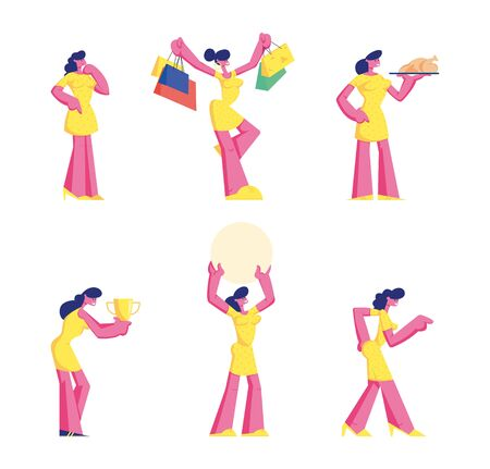 Set of Female Characters Wearing Yellow Dress Stand in Different Postures, Gesturing, Doing Shopping, Cooking Chicken, Hold Golden Trophy Isolated on White Background Cartoon Flat Vector Illustration