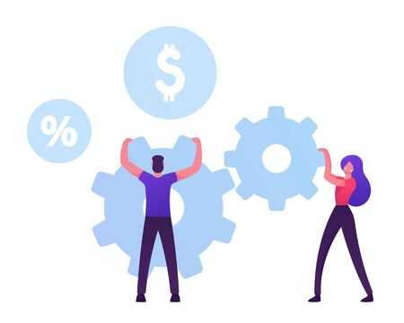 Man and Woman Moving Huge Cogwheels Mechanism with Hands, Businesswoman and Businessman Rolling Gears Developing New Strategy or Creative Idea. Sop Working Process. Cartoon Flat Vector Illustration