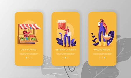 Farmer Market Mobile App Page Onboard Screen Set. Male and Female Characters Buy Fresh Healthy Tasty and Organic Seasonal Farm Food Concept for Website or Web Page, Cartoon Flat Vector Illustration