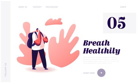 Nicotine and Tobacco Addiction Social Health Problem Website Landing Page. Young Hipster Male Character Smoking Cigarette Outdoors in Public Place. Web Page Banner. Cartoon Flat Vector Illustration