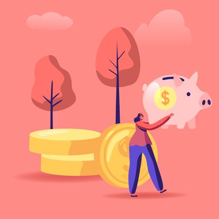 Woman with Piggy Bank in Hands Stand near Golden Coins Pile. People Saving and Collect Money in Thrift-box, Open Bank Deposit. Family Finance Budget Economy Concept Cartoon Flat Vector Illustration Иллюстрация