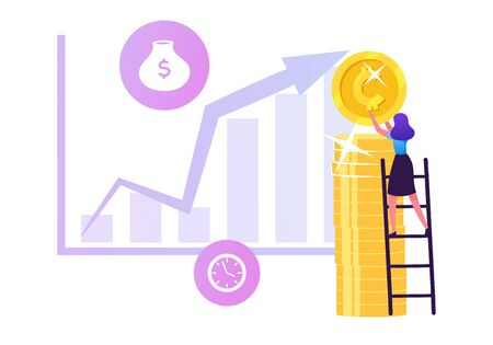 Businesswoman Put Coin on Huge Pile in Shape of Letter I Standing on Ladder front of Growing Data Chart. Roi, Return on Investment, Money Refund, Profit Growth Concept Cartoon Flat Vector Illustration