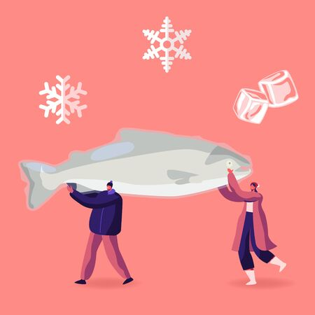 Tiny Male and Female Characters Carry Huge Frozen Fish with Snow Flakes and Ice Cubes around. Healthy Refrigerated Food Concept People Choose Production in Supermarket Cartoon Flat Vector Illustration