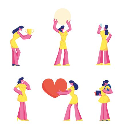Set of Cute Girl in Yellow Dress Holding Big Heart, Celebrate Victory with Trophy, Student with Backpack and Books, Using Smartphone Isolated on White Background Cartoon Flat Vector Illustration