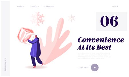 Frozen Food, Saving and Freezing Products Website Landing Page. Female Character Holding Huge Ice Cube in Hands with Falling Snow Flakes around Web Page Banner. Cartoon Flat Vector Illustration Иллюстрация