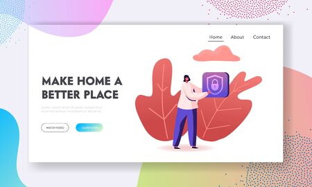 Control Smart Home Devices through Wireless Connection Website Landing Page. Woman Holding Icon of Padlock inside of Shield. Iot Secure House System Web Page Banner. Cartoon Flat Vector Illustration Иллюстрация