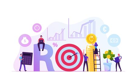 Return on Investment, ROI, Market and Finance Business Analysis and Growth Concept. People Get Refund for Deposit, Invest Money Digital Marketing Profit Wealth Capital Cartoon Flat Vector Illustration